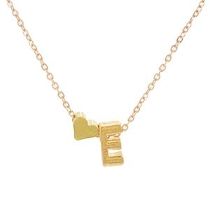 Jewelry - Silver/Gold Heart & E Initial Charm Necklace